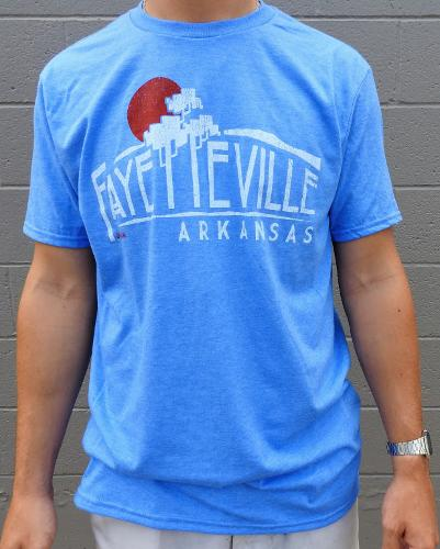 Fayetteville, Arkansas Rock City Outfitters Short Sleeve Tee - Sky Blue