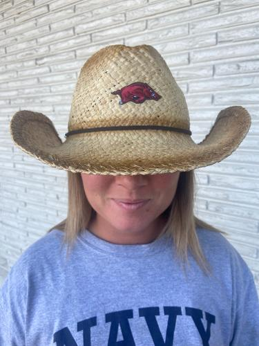 Arkansas Razorbacks Distressed Raffia Cowboy Hat