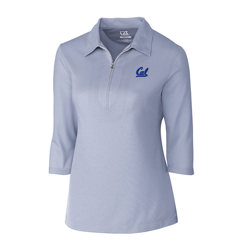 CB W Drytec 3/4 Sleeve Zip Polo