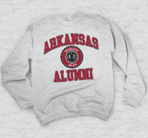 University of Arkansas Alumni Crew Sweatshirt- Ash