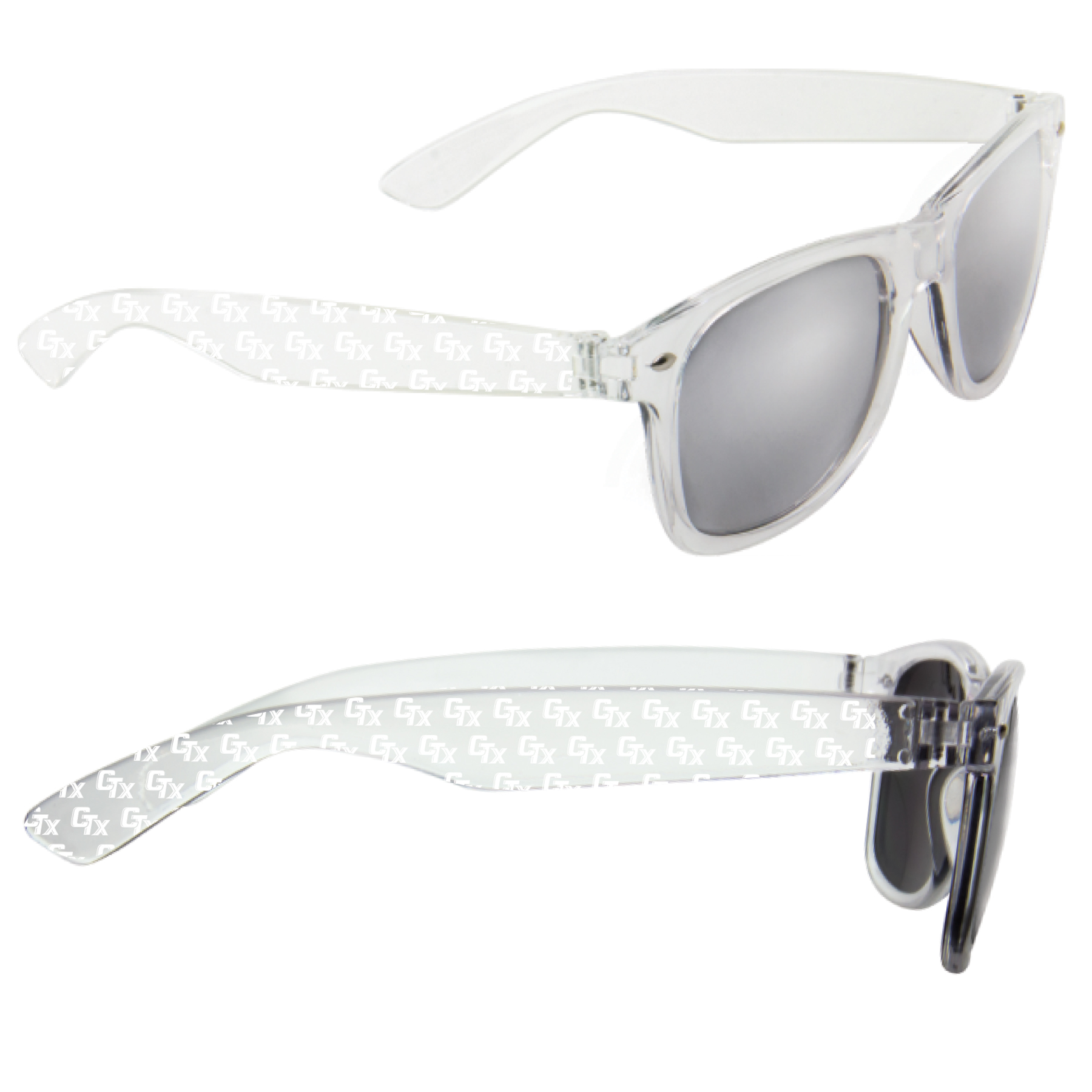 Detailed image of Clear CTX Sunglasses with Silver Mirror lenses