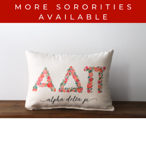 Sorority Pillow with Floral Letters
