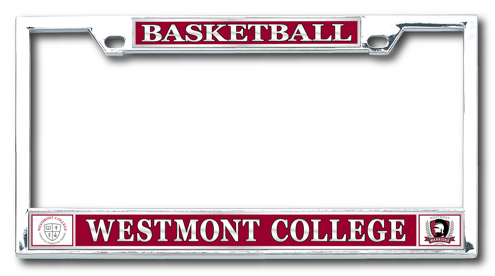 image of: Basketball License Plate Frame w/seal & warriors logo