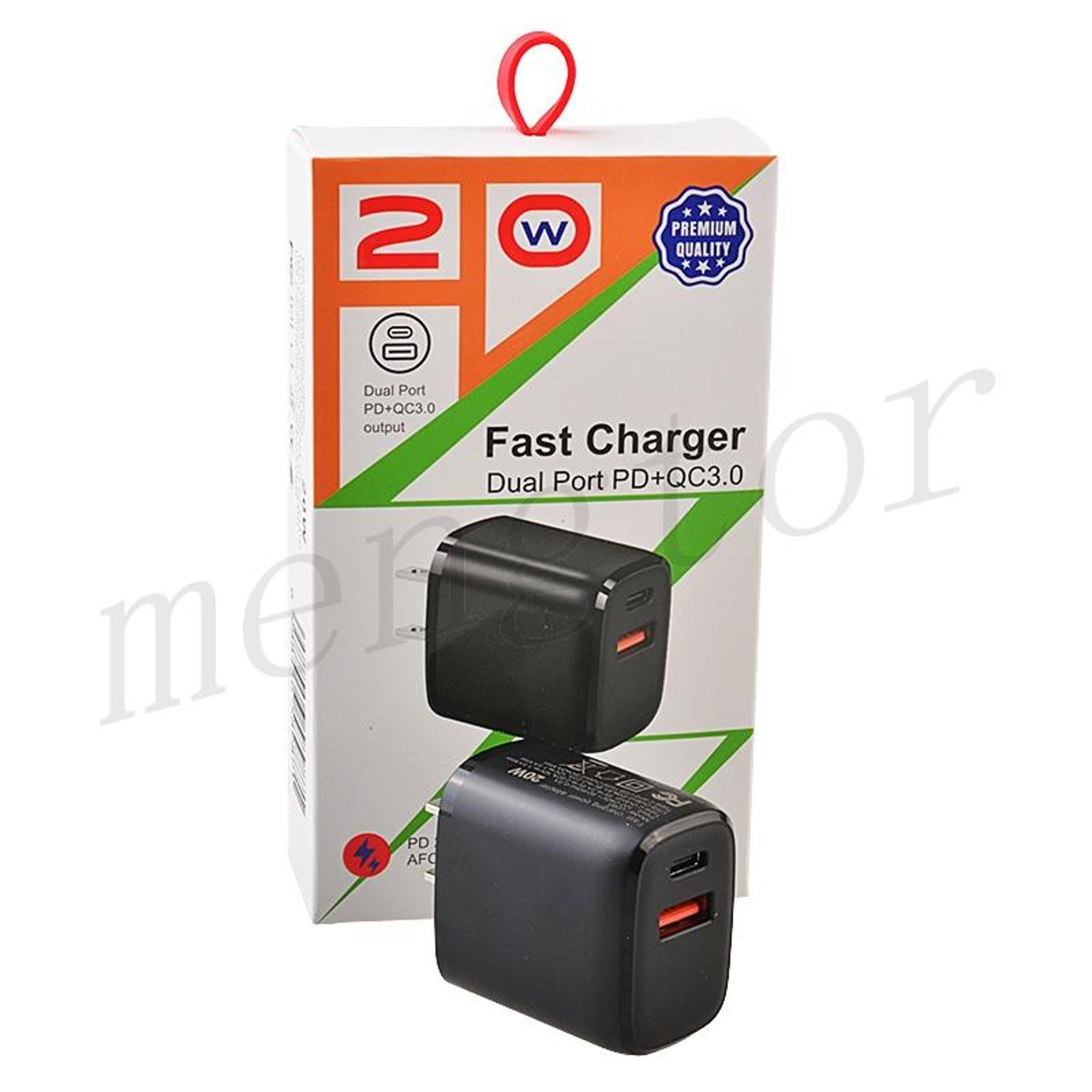 image of: 20W 2-Port Type-C & USB Fast Charger