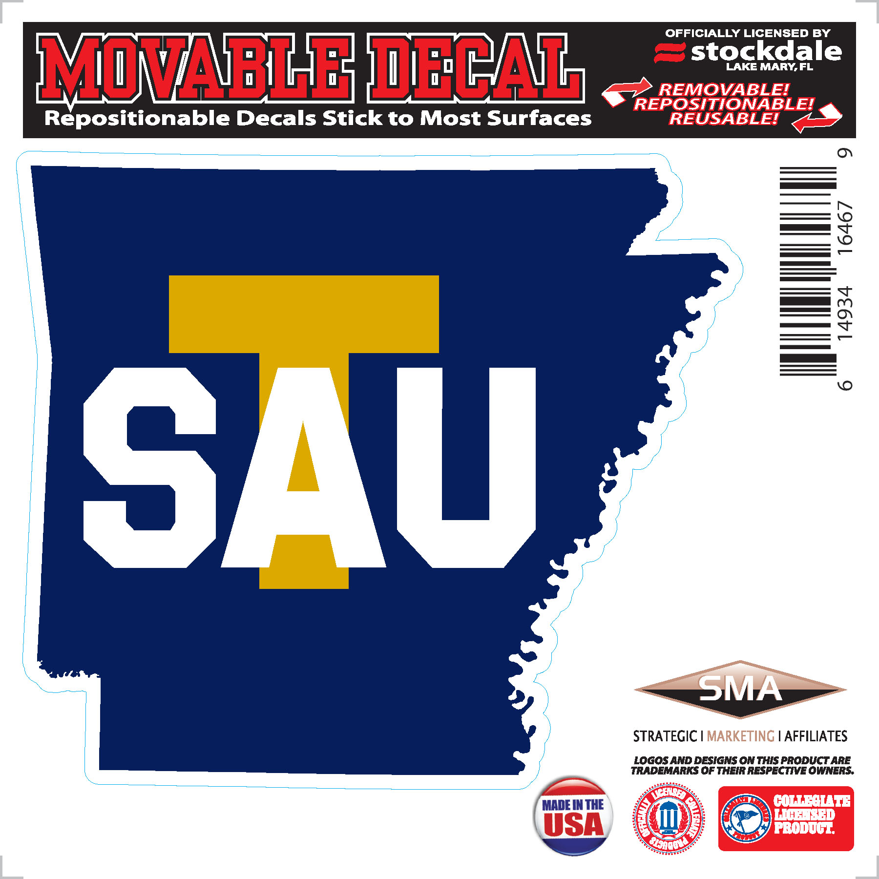 State Outline SAU T Decal