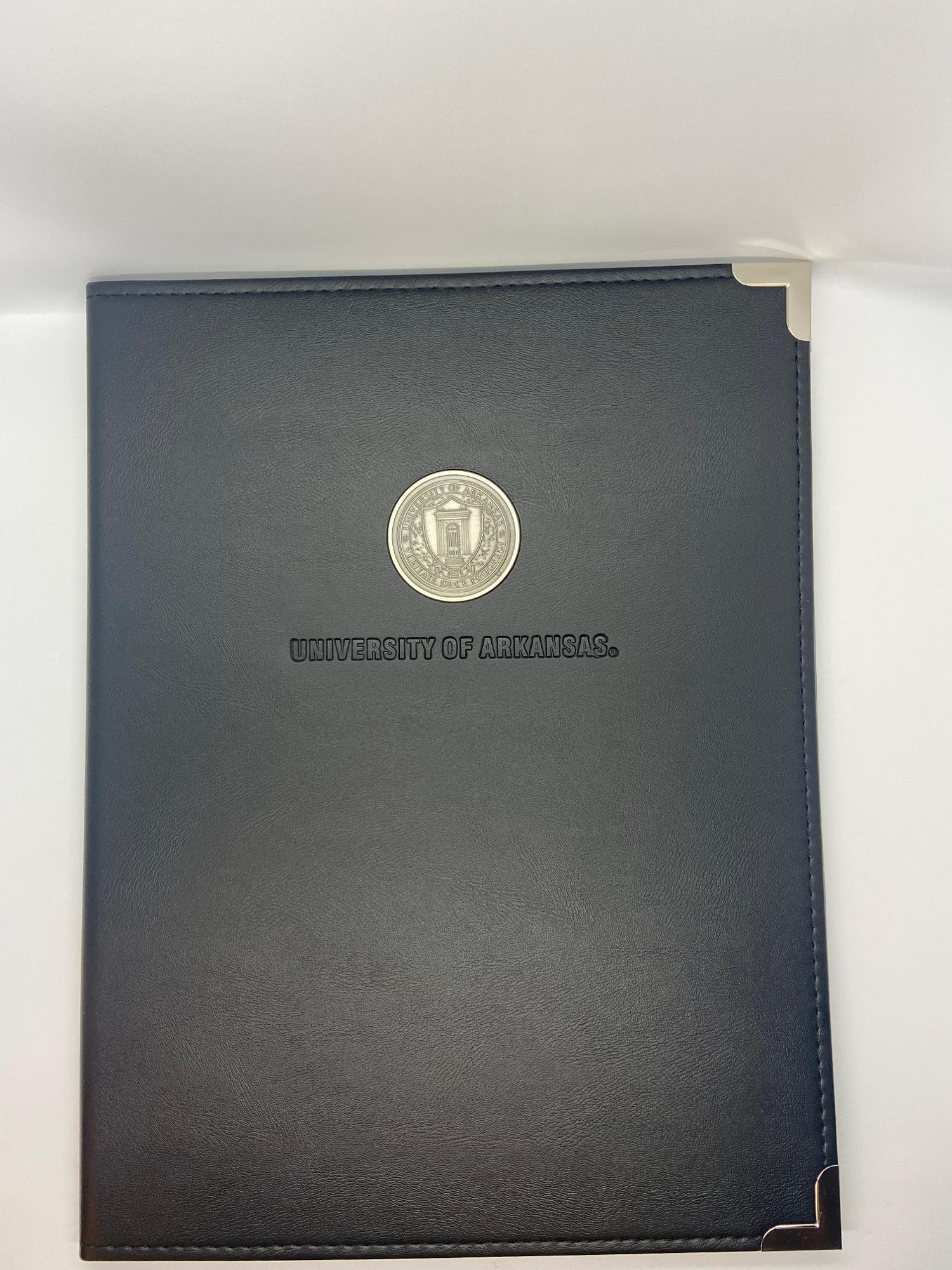 image of: University of Arkansas Silver Seal Black Padfolio