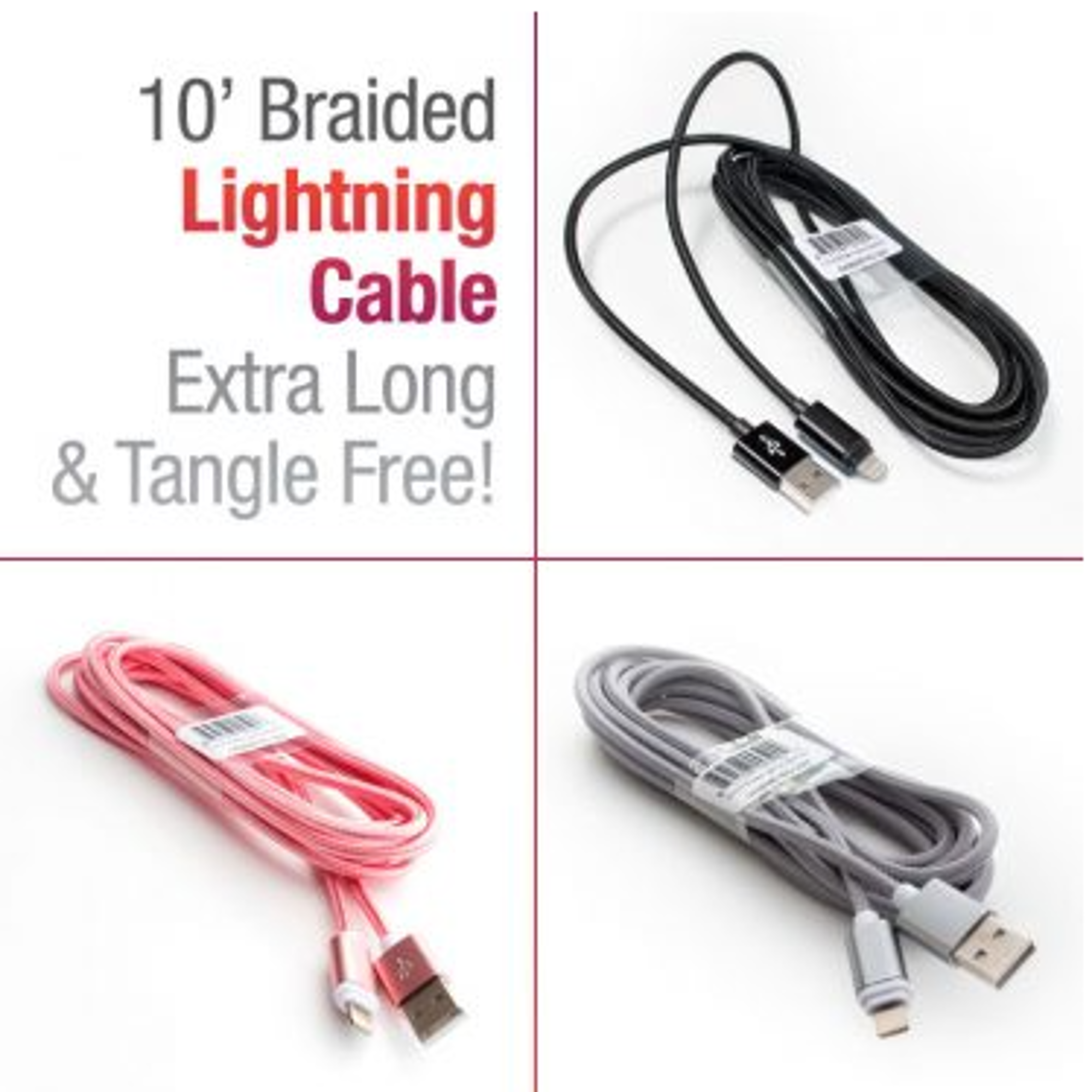 image of: 10' Braided Lightning Compatible Cable