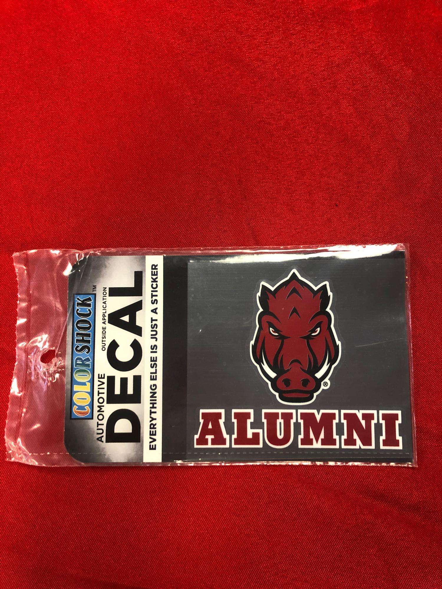 image of: Arkansas Razorbacks Color Shock Front Facing Hog Alumni Decal - Red