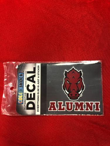 Arkansas Razorbacks Color Shock Front Facing Hog Alumni Decal - Red
