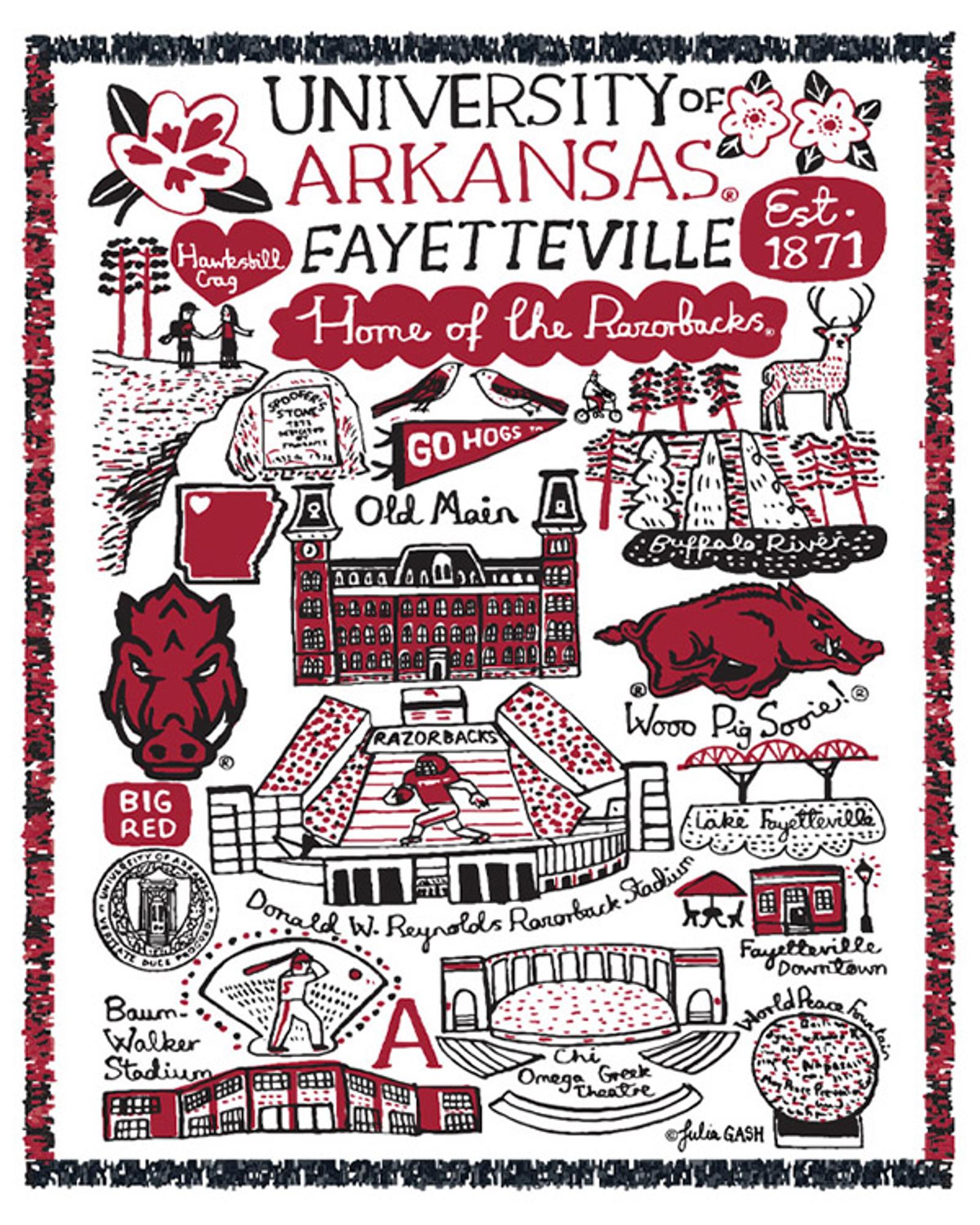 image of: University of Arkansas Julia Gash Tapestry Blanket