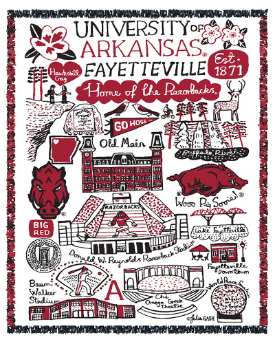 University of Arkansas Julia Gash Tapestry Blanket
