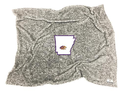 OUACHITA TIGER LOGO FLECKED DOUBLE PLUSH ARKANSAS BLANKET