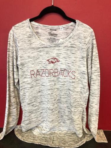 Arkansas Razorbacks Running Hog Razorbacks Long Sleeve Tee - Marbled Grey