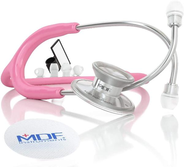 Acoustica Stethoscope Pink and Silver