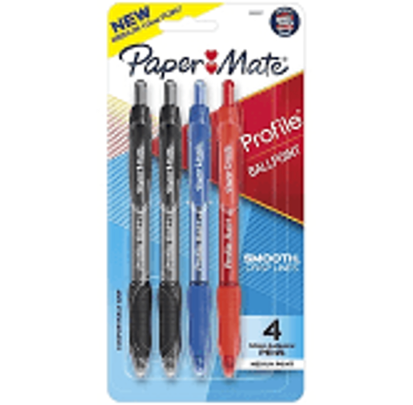 Paper Mate Ballpoint Pen, Profile Retractable Pen, Medium Point (1.0mm), Assorted, 4 Count