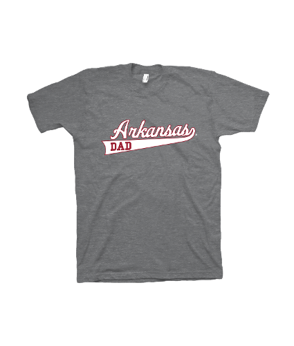 Arkansas Razorbacks Dad Baseball Script Short Sleeve Tee- Grey