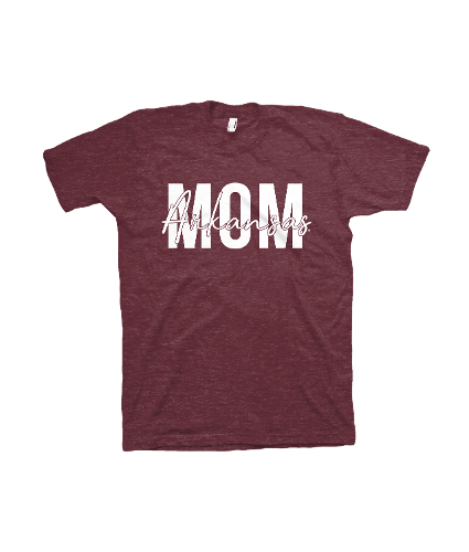 Arkansas Razorbacks Mom Short Sleeve Tee- Cardinal Triblend