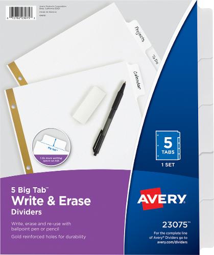 Write and Erase 5 Big Tab Divider