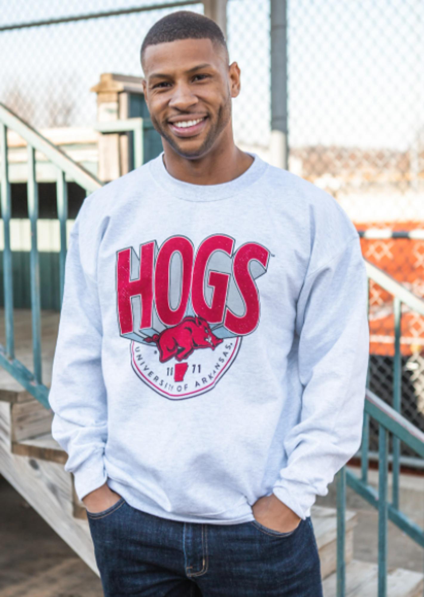 image of: Arkansas Razorbacks Hogs Billboard Sweatshirt- Ash