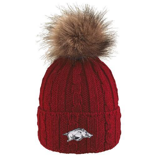 Arkansas Razorbacks Knit Cuff Faux Fur Pom Beanie- Crimson