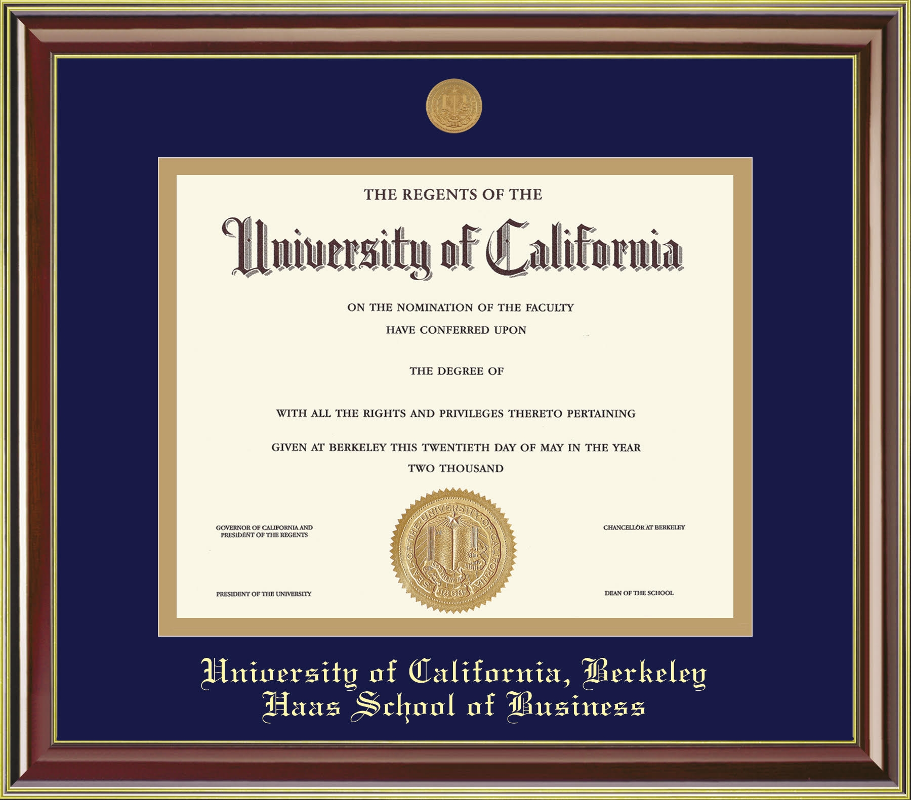 Diploma Frame Mahogany Gold Haas School of Business