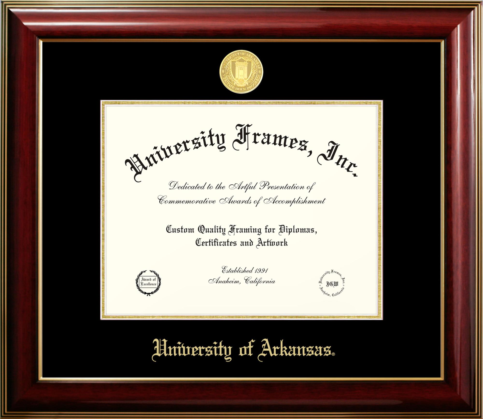 Image for University of Arkansas Classic Mahogany Gold Trim Diploma Frame