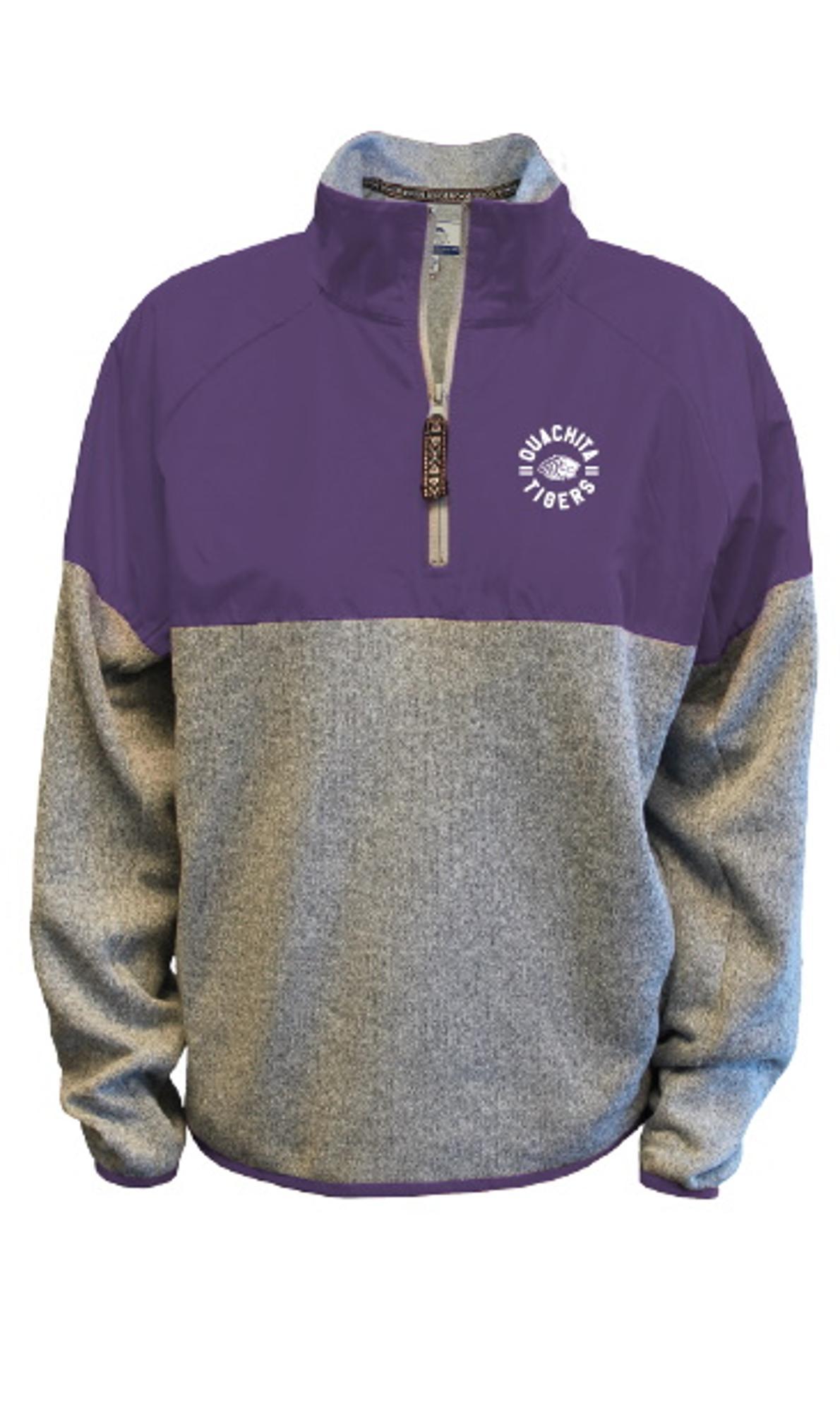 image of: Heather Sweater Color Block 1/4 Zip