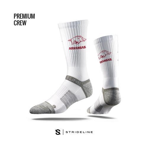 Arkansas Razorbacks Strideline Premium Running Hog Crew Socks - White