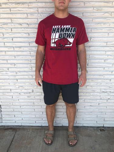 Arkansas Razorbacks Left Lane Hammer Down Short Sleeve Tee - Red