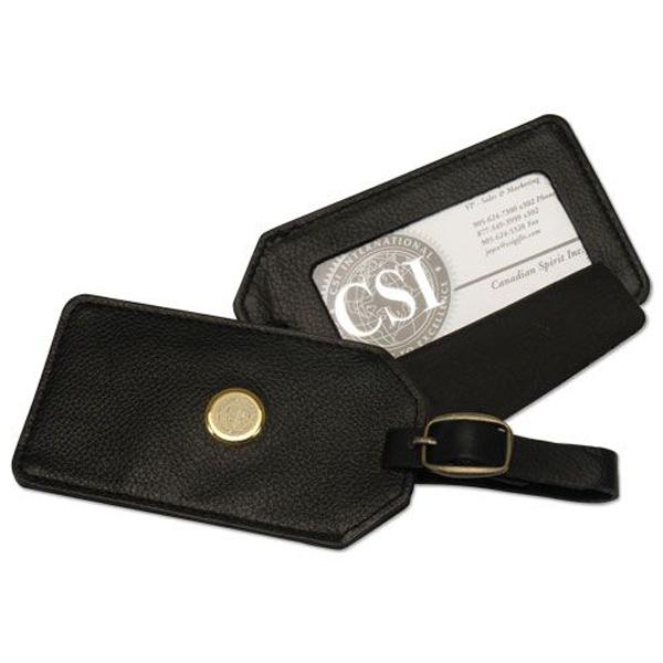 image of: CSI N14Y-S Luggage Tag; Leather Medallion