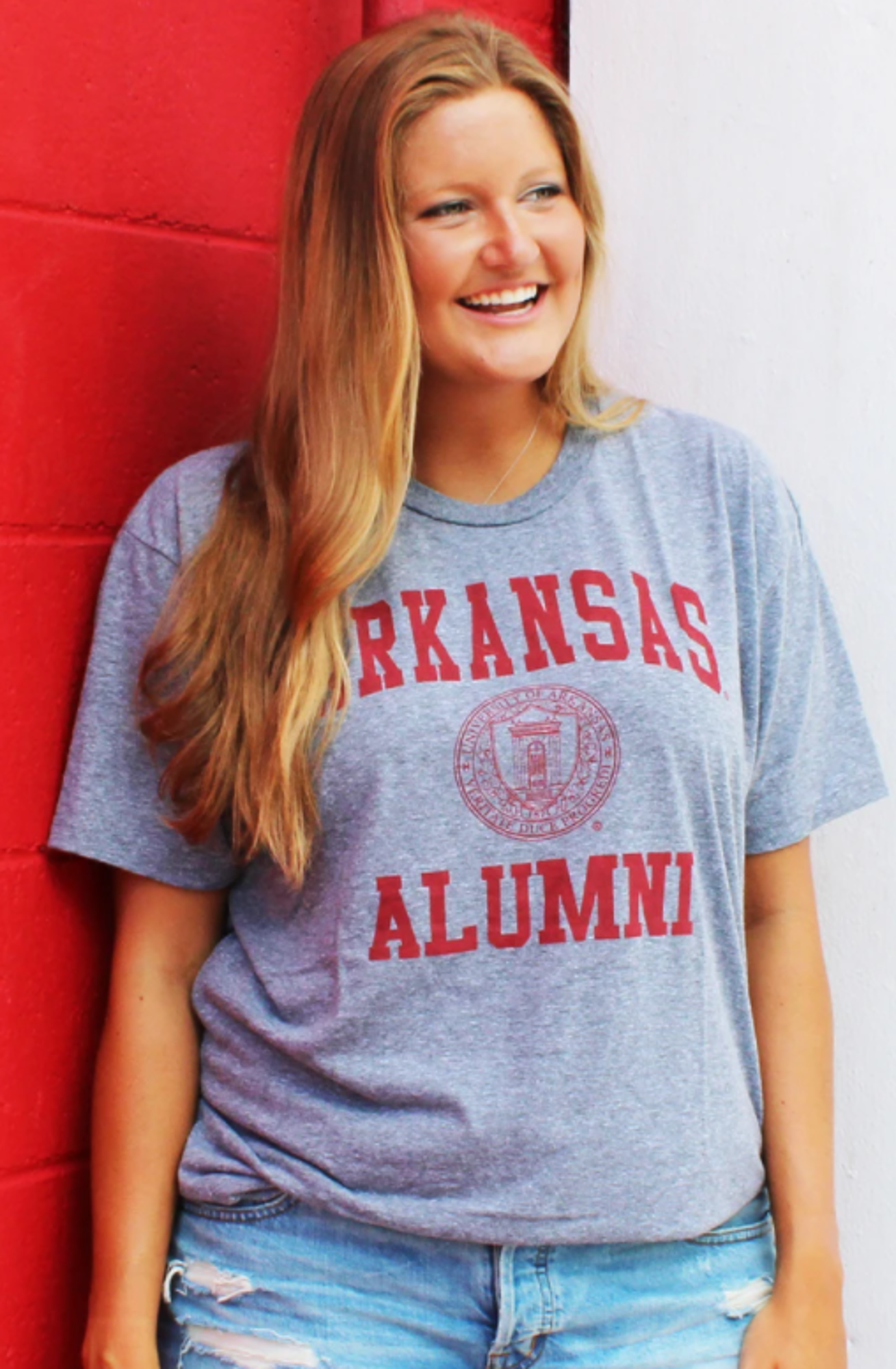 Image for University of Arkansas Alumni Short Sleeve Tee- Grey