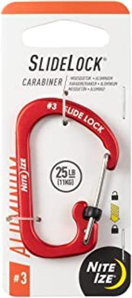 SlideLock Carabiner Aluminum #3 - Red
