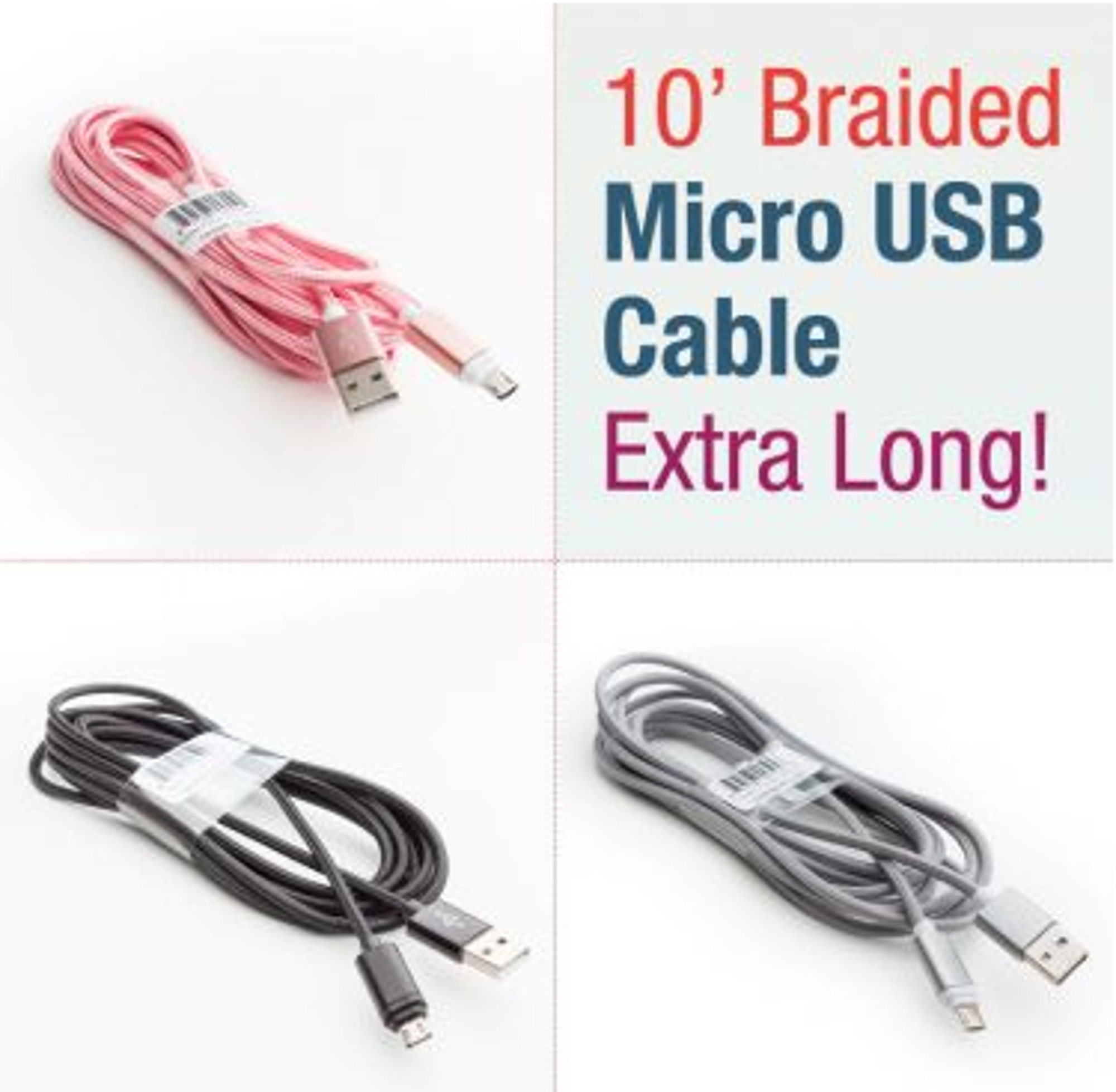 image of: 10' Braided Micro USB Cable
