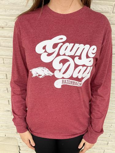 Arkansas Razorbacks Retro Gameday Long Sleeve Tee - Crimson