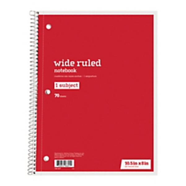 """Just Basics® Spiral Notebook #2, 7-1/2"""" x 10-1/2"""", Wide Ruled, 140 Pages (70 Sheets), Red"""