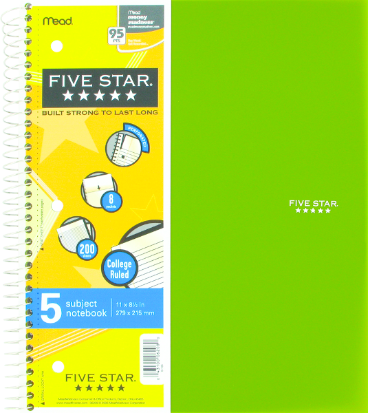 Five Star Wirebound Notebook - Asst 8.5x11in 200Sht Bulk 5-Subject-College Ruled