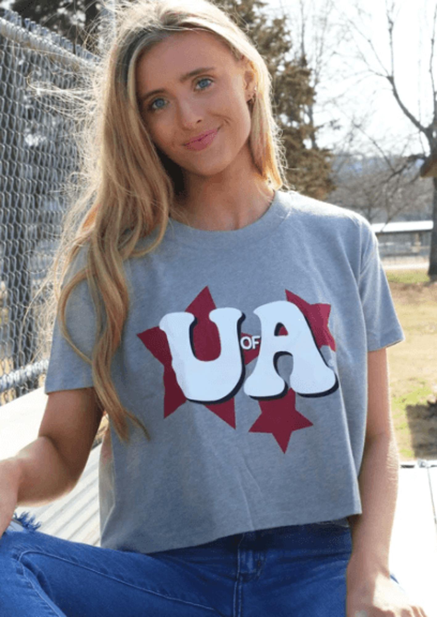 image of: University of Arkansas Women's Stars Cropped Tee - Grey