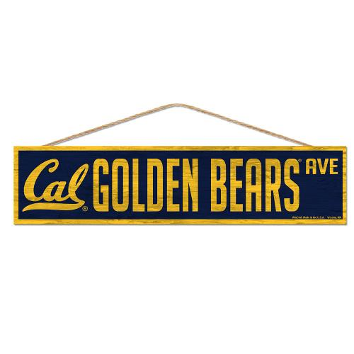 """Cal Golden Bears Wood Sign-with Rope 4""""x17"""""""