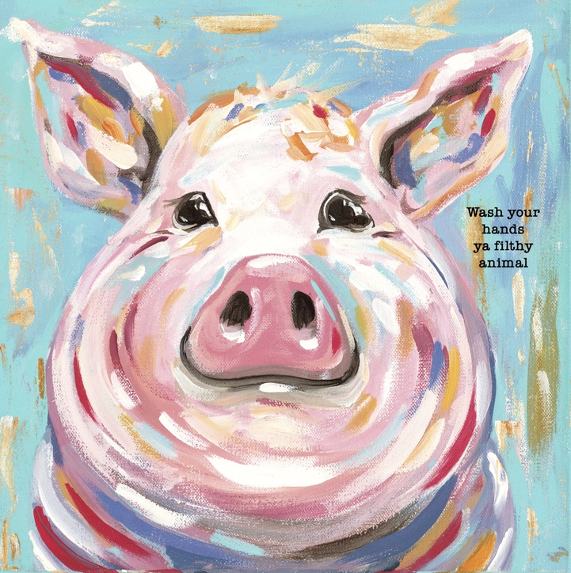 image of: Glory Haus Wash Your Hands Pig Canvas