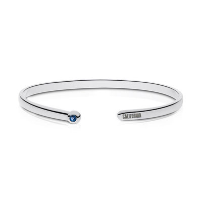 Detailed image of California Engraved Sapphire Cuff Bracelet