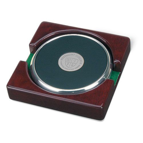 image of: CSI 15D/S-S Coaster Set of 2 w/ rosewood stand