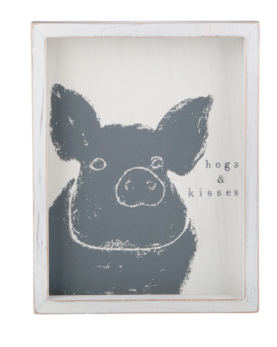 Glory Haus Hogs and Kisses Framed Board