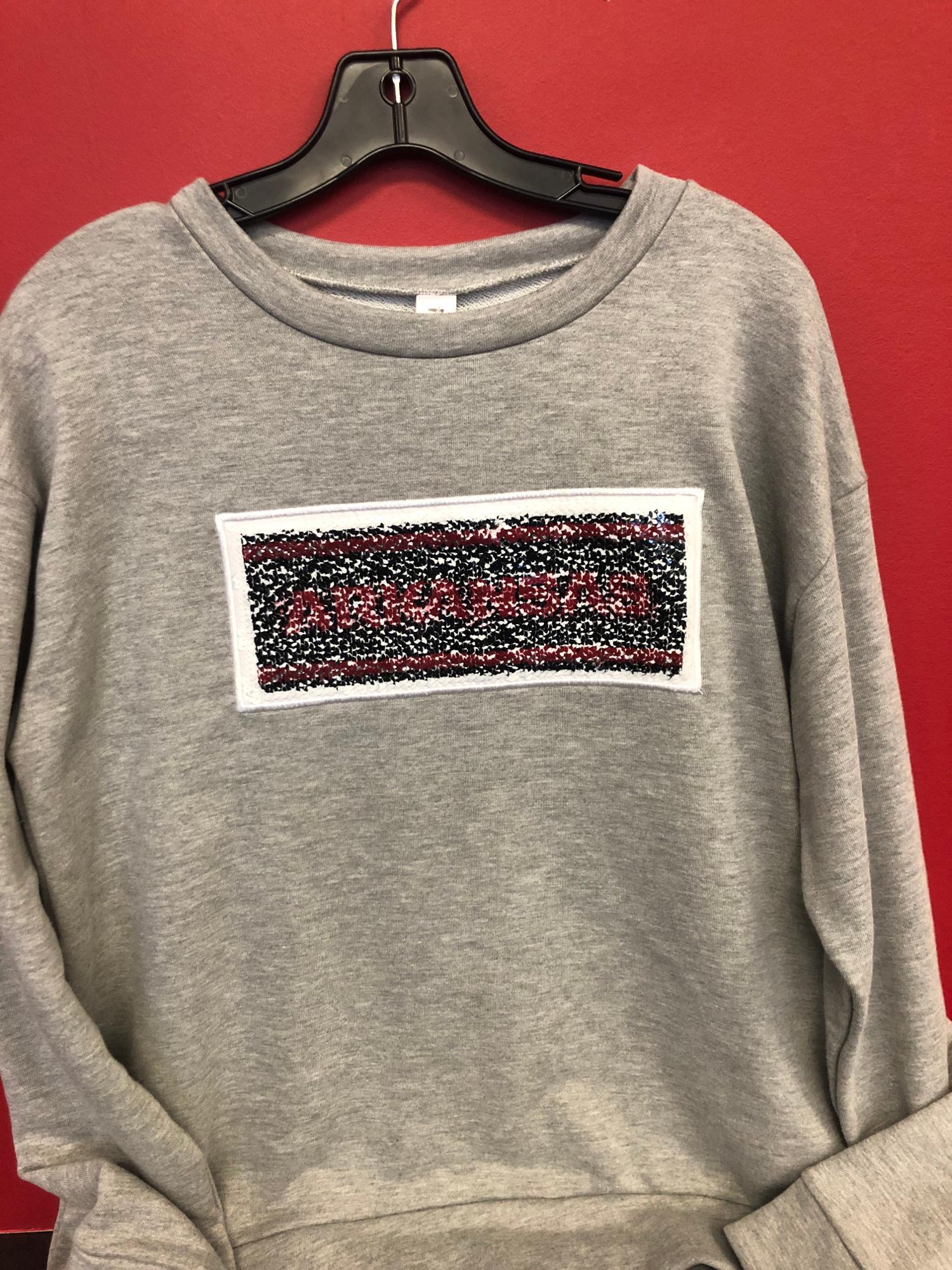 image of: Arkansas Razorbacks Sequin Inverse Sweatshirt - Grey