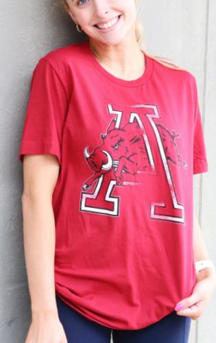 Arkansas Razorbacks Hog Thru A Vintage Short Sleeve Tee- Red