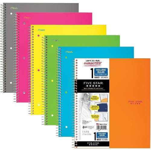 Five Star 1-Sub College Ruled Notebook