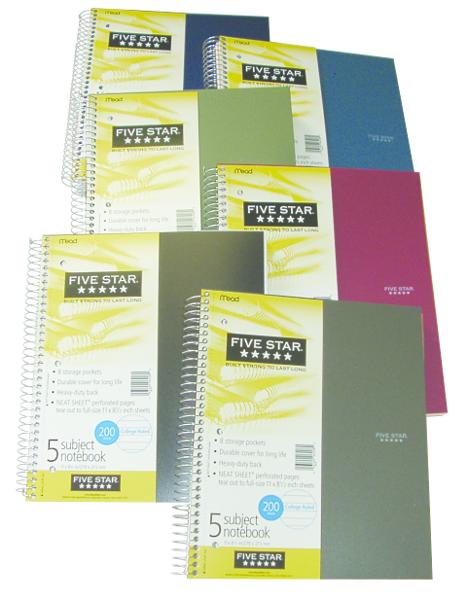 Five Star Wirebound Notebook - Asst 8.5x11in 150Sht Bulk 3-Subject-College Ruled