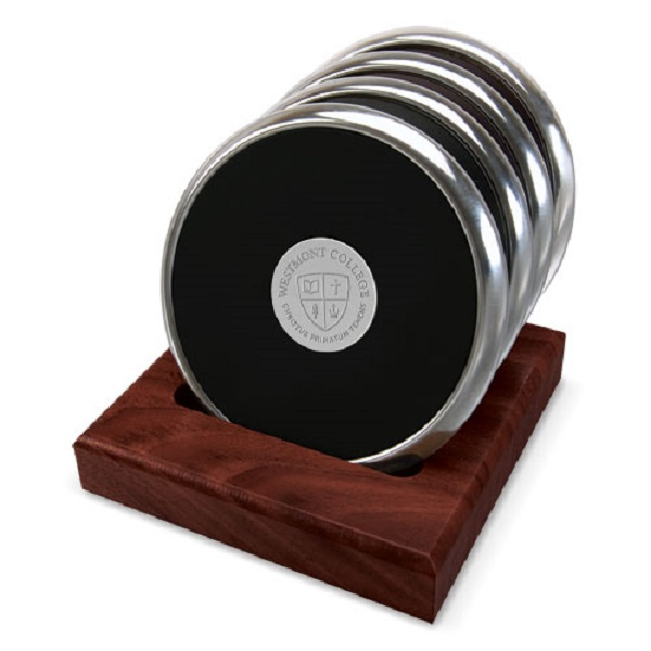 image of: CSI 15C/S-S Silver Coaster Set of 4 w/rosewood stand