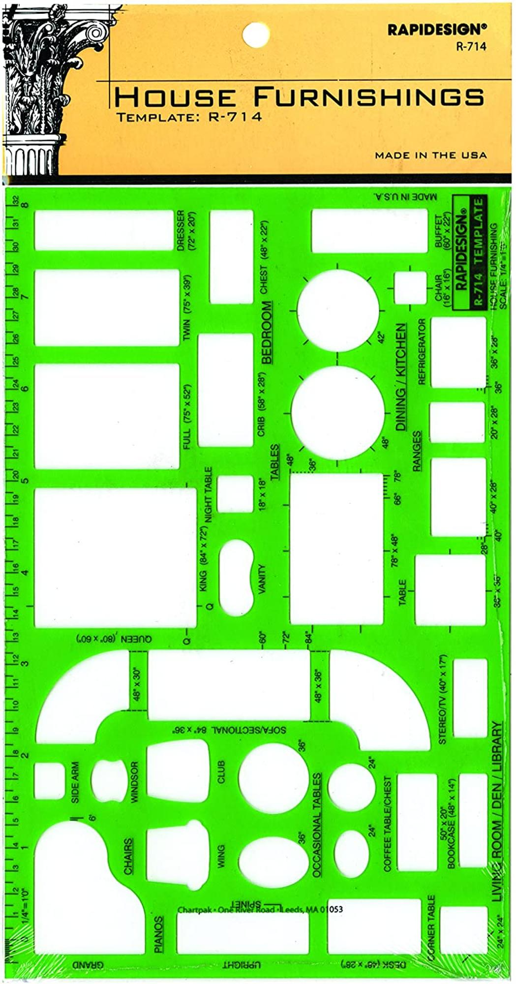 image of: Rapidesign House Furnishings Template, 1/4 Inch = 1 Foot Scale