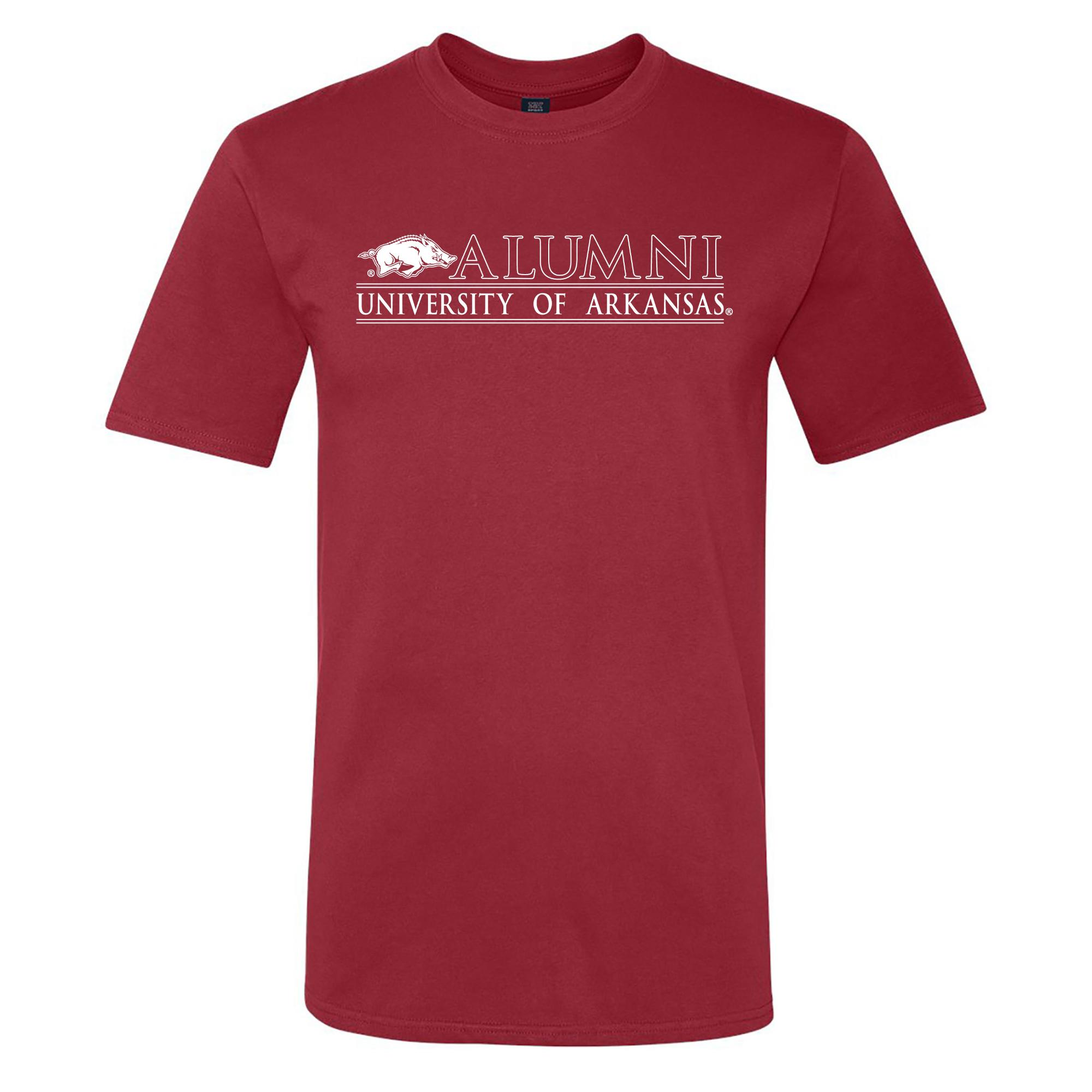 image of: University of Arkansas Logo Bar Alumni Ringspun Short Sleeve Tee- Crimson