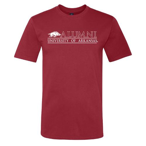 University of Arkansas Logo Bar Alumni Ringspun Short Sleeve Tee- Crimson